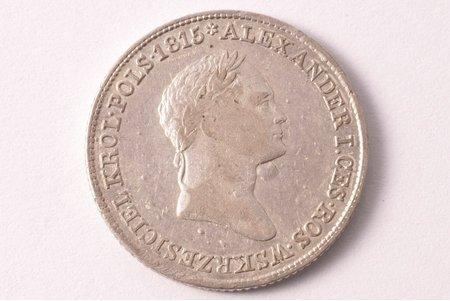 1 zlotijs, 1827 g., sudrabs, Krievijas Impērija, Polijas Karaliste, 4.30 g, Ø 21.6 mm, VF
