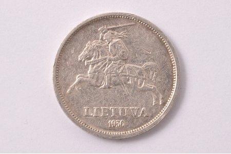 5 liti, 1936 g., sudrabs, Lietuva, 8.80 g, Ø 27.2 mm, XF, VF
