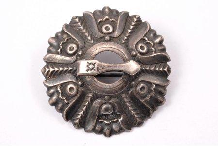 брошь, сакта, серебро, 875 проба, 4.0 г., размер изделия Ø = 2.97 см, 1957 г., Таллинский художественно-производственный комбинат, Таллинн, СССР, Эстония