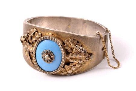 браслет, серебро, эмаль, 875 проба, 68.55 г., диаметр браслета 5.5 - 5.7 см, 30-е годы 20го века, Латвия