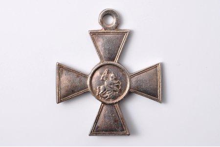 nozīme, Jura krusts, Nr. 107371, apbalvots 1. Daugavgrīvas latviešu strēlnieku pulka 2. rotas jaunākais apakšvirsnieks Grīnvalds Vilis Jēkaba d., par izcilību izlūkošanā 20.11.1915 pie Kutņiku ciema, 3. pakāpe, sudrabs, Krievijas Impērija, 1915 g., 40.8 x 34.3 mm, 10.20 g