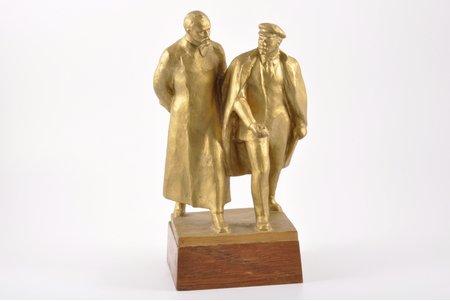 figurālā kompozīcija, V. Ļeņins ar F. Dzeržinski, alumīnija sakausējums, 26 cm, svars 2000.700 g., 20gs. 50-60tie gadi