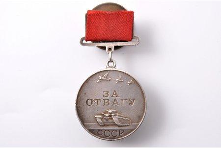 medaļa, Par drosmi, Nr. 148773, sudrabs, PSRS, 20.gs. 40ie gadi, 41.7 x 37.2 mm, 29.20 g