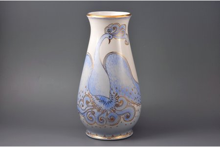 vase, The Firebird, porcelain, sculpture's work, shape by Taisiya Poluikevitch, handpainted by Aldona Elfrida Pole-Abolinya, Riga (Latvia), USSR, the 70-ties of the 20th cent., 30.5 cm