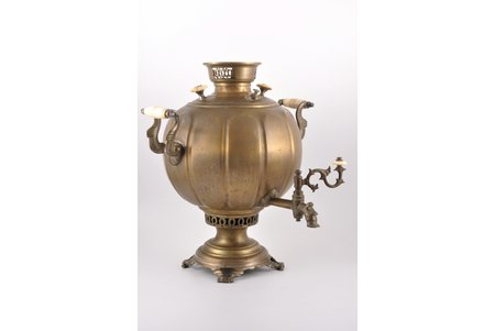 "samovar, Братья Воронцовы, shape ""faceted sphere"", brass, Russia, the border of the 19th and the 20th centuries, 41 cm, weight 6000 g"