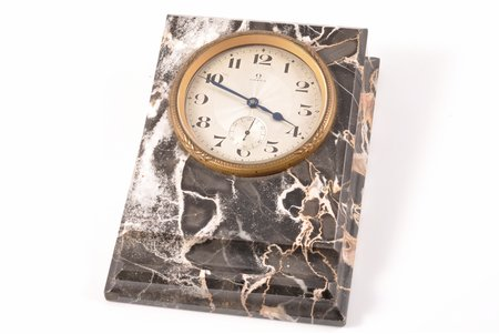 """galda pulkstenis, """"Omega"""", Šveice, 20 gs. 20tie gadi, metāls, marmora korpuss, 14.9 x 10.7 x 3.7 cm, 68 mm, darbojas"""