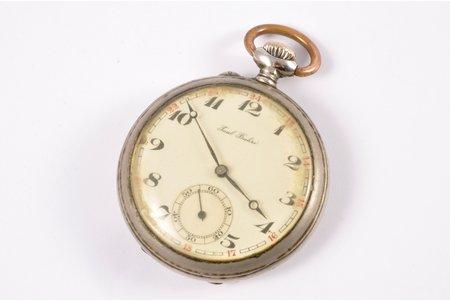 """kabatas pulkstenis, """"Paul Buhre"""", Šveice, 20. gs. sākums, metāls, 6 x 5 cm, 42.7 mm, darbojas"""