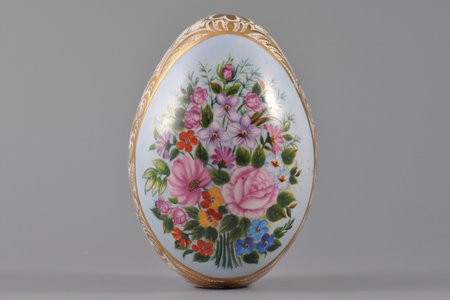easter egg, flowers, hand-painted, porcelain, private factories, Russia, the beginning of the 20th cent., 10.6, Ø 7.4 cm