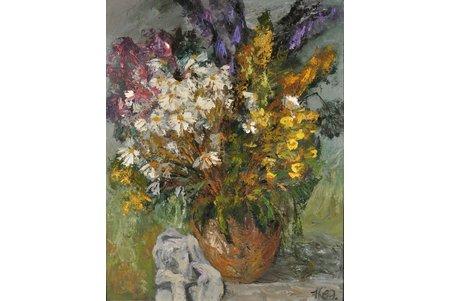 "Kalnmalis Janis (1939), ""Wild flowers"", 1989, carton, oil, 100 x 80 cm"
