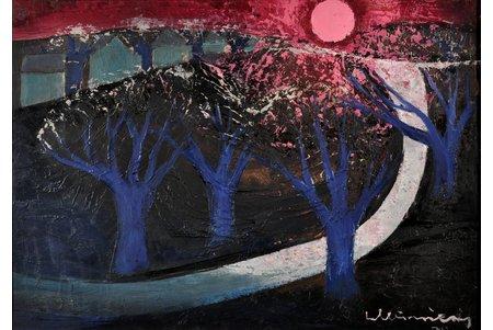 """Мурниекс Лаимдотс (1922-2011), """"Синие деревья"""", 1974 г., картон, масло, 49.7 x 69.7 см"""