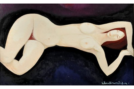 """Murnieks Laimdots (1922-2011), """"Lying Down"""", the 70-ties of the 20th cent., carton, oil, 50 x 80 cm"""