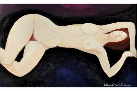 "Мурниекс Лаимдотс (1922-2011), ""Спящая"", 70-е годы 20-го века, картон, масло, 50 x 80 см"
