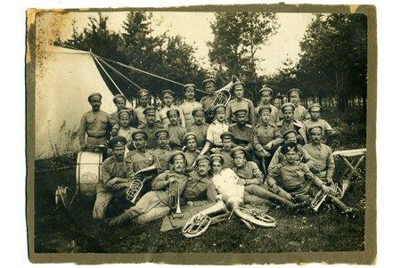 fotogrāfija, Cariskā Krievija, Aviācijas nodalas orķestris, uzlīmēta uz kartona, 1917 g., 22.5x16.2 cm