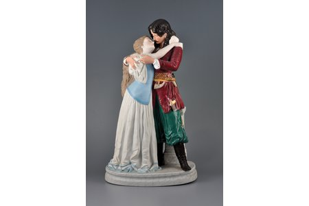figurine, Andrey with Polish girl, bisque, Russia, Gardner manufactory, the 2nd half of the 19th cent., 39 cm, loss of parts of the pistol and saber