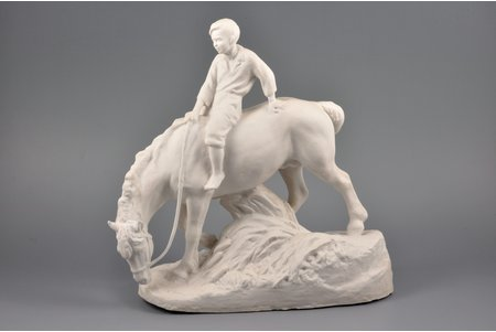 figurine, Boy on the horse, bisque, Riga (Latvia), USSR, sculpture's work, Riga porcelain factory, the 50ies of 20th cent., 29.5 x 29.5 x 12 cm, restoration of horse's right ear and reins