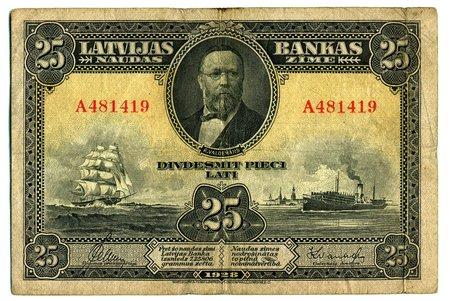25 латов, бон, 1928 г., Латвия
