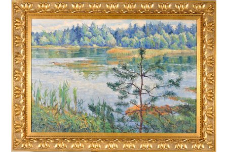 "Bogdanov-Belsky Nikolay (1868-1945), ""By the river Udomla"", the 20ties of 20th cent., canvas, oil, 44.7 x 64.4 cm, with restoration passport and expertise"