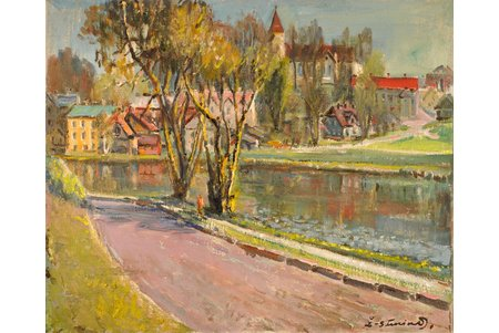 Suninsh Zhanis (1904 - 1993), Walk along the river, carton, oil, 57.7 х 69.5 cm