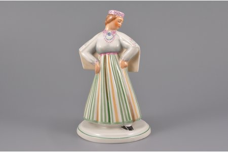 figurine, a Girl in national costume, porcelain, Riga (Latvia), J.K.Jessen manufactory, 1933-1935, 15 cm, hand-painted (H. K.)