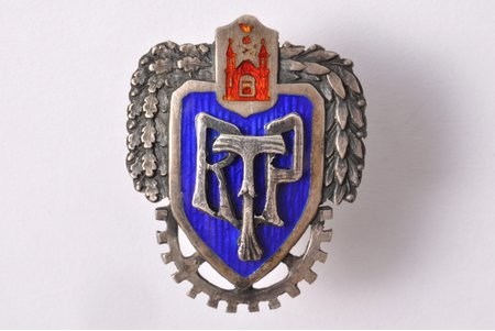 badge, RTP, silver, Latvia, 20ies of 20th cent., 31 x 24.8 mm, 7.70 g