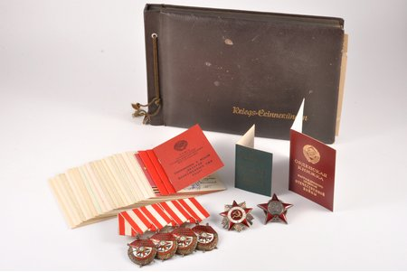 Set of Workers-Greeners Red Army's Clonel's Kuznetsov Semyon Vasilievich's and his son's, Kuznetsov Vladimir's, awards: 4 Orders of the Red Banner (Nº 191554, Nº 94274, Nº 153353, Nº 104423), Order of the Red Star Nº 1569181, The Order of the Patriotic War, Nº 2170795 (2nd class); photo album, set o documents, silver, USSR, 40ies of 20 cent., 45.2 x 36.2 mm