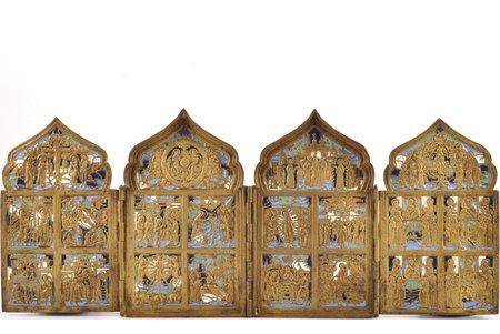 складень, Двунадесятые Праздники, медный сплав, 4-цветная эмаль, Российская империя, конец 19-го века, 41 x 17.1 (9.8 x 17.1) см, 1461.8 г.