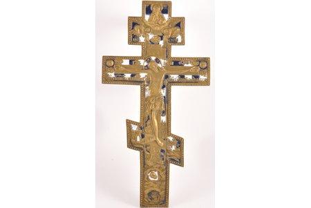 крест, Распятие Христово, бронза, 2-цветная эмаль, Российская империя, 19-й век, 36.6 x 18.7 x 0.5 см, 833.75 г.