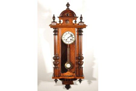 """настенные часы, """"Le Roi a Paris"""", Германия, начало 20-го века, дерево, 95x39x18 см, Ø 145 мм, в рабочем состоянии, эмаль в идеальном состоянии"""
