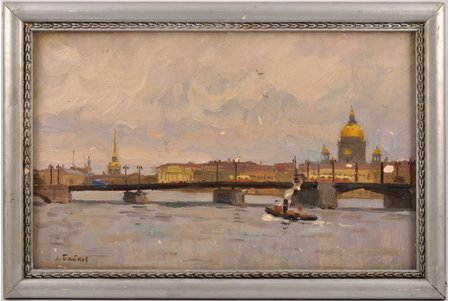 Baykov Leonid (1919 - 1994), On The Neva, the 60ies of 20th cent., carton, oil, 20.6 x 33.2 cm
