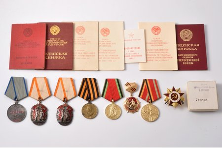 set of awards, with certificates, medal For Courage № 2595139; Badge of Honour № 94572; Badge of Honour № 98589; For victory over Germany; medal of 20th anniversary of the victory in the Great Patriotic War; badge 25 years of the victory in the Great Patriotic War; medal of 30th anniversary of the victory in the Great Patriotic War; The Order of the Patriotic War, 1st class, № 796561; awarded to Makarov Nicholas Gerasimovich, USSR, 1947-1985