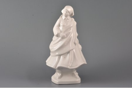figurine, A young woman wearing traditional clothes, porcelain, Riga (Latvia), USSR, sculpture's work, molder - Aldona Elfrida Pole-Abolina, 1961, 21 cm, article 56/100