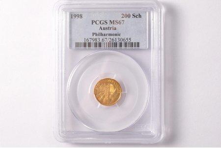 200 шиллингов, 1998 г., Венская филармония, золото, Австрия, 3.11 г, Ø 16 мм, MS 67