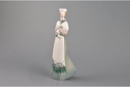 figurine, Christina, porcelain, Riga (Latvia), USSR, sculpture's work, underglaze hand painting with salt by Aija Mūrniece, molder - Vera Veisa, 1978, 17.5 cm, from the author's private collection
