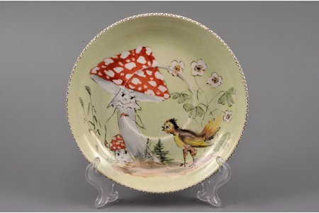 """decorative plate, """"Chicken and Toadstools"""" (hand-painted), porcelain, sculpture's work, handpainted by H. Duks, Riga (Latvia), USSR, 1971, Ø 13.7 cm"""