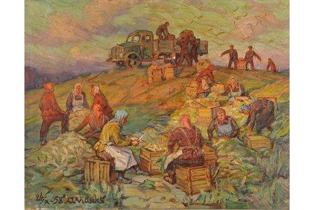 Viduks Oto (1887-1966), At the Ābeļi, 1958, carton, oil, 46 x 61 cm