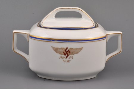 sugar-bowl, Aviation Regiment, 10.5 x 17.5 x 10.6 cm, Latvia, 1937-1940, M.S. Kuznetsov manufactory