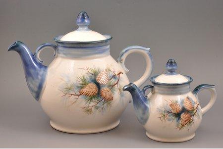 "teapot, set, ""Pine Cones"", porcelain, sculpture's work, handpainted by Aija Mūrniece, Riga (Latvia), USSR, the 60-70ies of 20th cent., (чайник) 26.5 см, (заварник) 17.5 cm, (bigger teapot) 26.5 cm, (teapot) 17.5 cm"