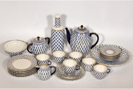 """coffee service, """"Cobalt net"""", porcelain, LFZ - Lomonosov porcelain factory, Russian Federation, the 90ies of 20th cent., small chip on one of saucers"""