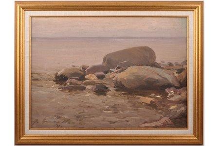 Bromults Alfejs (1913-1991), Piekraste, 1954 g., kartons, eļļa, 44.7 x 32 cm