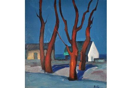 Delle Biruta (1944), Ziemas diena, kartons, eļļa, 69.5 x 64.5 cm