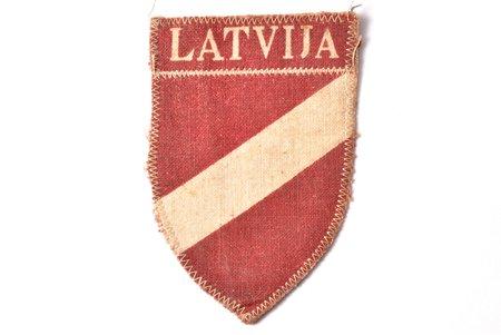 нашивка, Латышский добровольческий легион СС, 7.8 x 5.3 см, Латвия, 1941-1945 г.