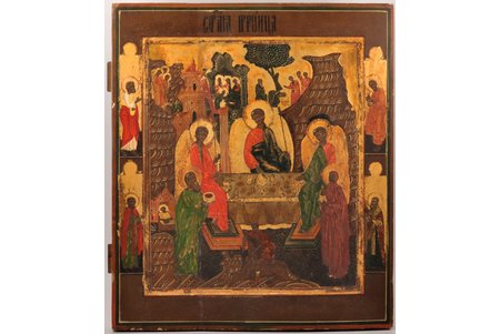 ikona, Ābrahama viesmīlība - Vecās Derības Svētā Trīsvienība ar priekšāstāvošiem, dēlis, gleznojums, zeltījums, Krievijas impērija, 19. gs. 2. puse, 44.5 x 38.5 x 3.3 cm