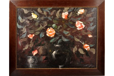Melderis Imants (1944-2001), Rozes, 1991 g., kartons, eļļa, 49 x 63 cm