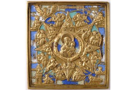 ikona, Neopalimaja Kupina, vara sakausējuma, 5-krāsu emalja, Krievijas impērija, 19. gs., 9.7 x 9.1 x 0.5 cm, 246.00 g.