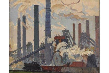 Doncovs Hermanis (1916-2001), Fabrika, 20 gs. 40tie gadi, audekls, eļļa, 59 x 72.5 cm