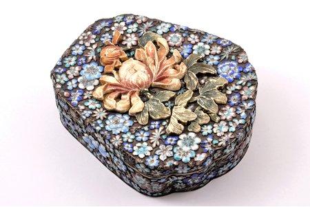 lādīte, metāls, emalja, kauls, Ķīna (?), 14.6 x 12.6 x 4.2 cm