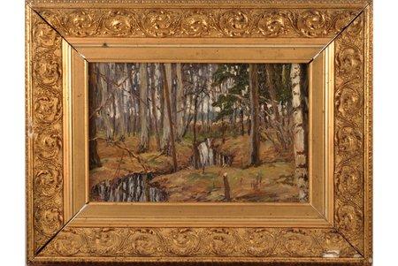 Zhukovsky Stanislav Yulianovich (1873-1944), Forest, 1913 (?), carton, oil, 19.5 x 31.1 cm