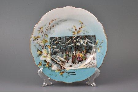 šķīvis, porcelāns, I. E. Kuzņecova fabrika pie Volhovas, Krievijas impērija, 19. un 20. gadsimtu robeža, Ø 20.7 cm, matveida plaisa
