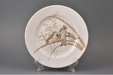 """šķīvis, """"Putni"""", fajanss, Gardnera manufaktūra, Krievijas impērija, 1870-1880 g., Ø 24.1 cm"""