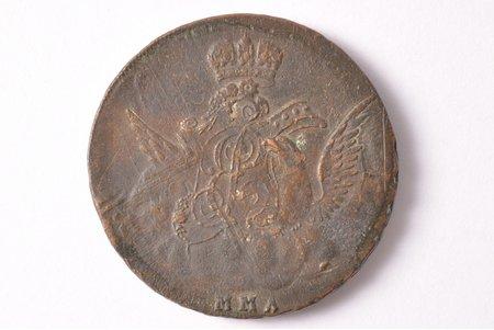 1 копейка, 1756 г., ММД, Российская империя, 19.45 г, Ø 32.2 - 32.8 мм, VF, F, двойной перечекан